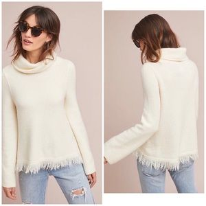 NWT Anthropologie Ivory Fringed Hem Sweater Small